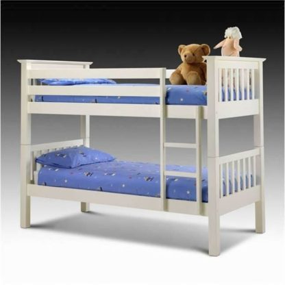 An Image of White Kids Bunk Bed with Ladder