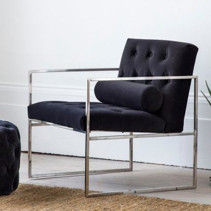 An Image of Sergio Jet Velvet Bedroom Armchair With Metal Frame