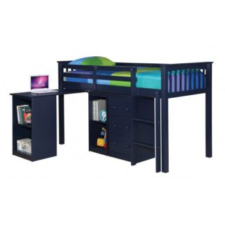 An Image of Milli Solid Navy Blue Finish Sleep Station With Pull Out Desk