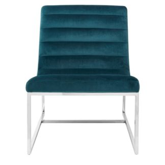 An Image of Sceptrum Velvet Curved Cocktail Chair In Teal