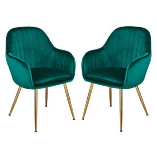 An Image of Lara Forest Green Dining Chair With Gold Legs In Pair