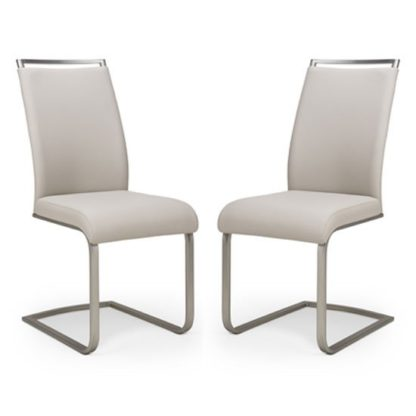 An Image of Franklin Taupe Velvet Fabric Dining Chair In A Pair
