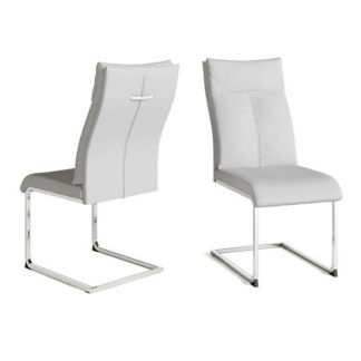 An Image of Chapin Faux Leather Dining Chair In White And Chrome Leg In Pair