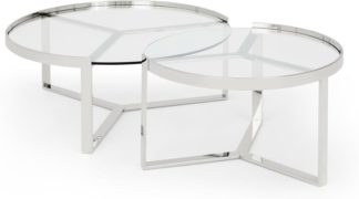 An Image of Aula Nesting Coffee Table, Stainless Steel and Glass