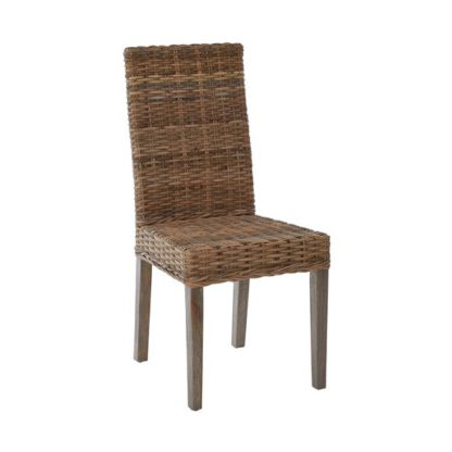 An Image of Helvetios Kubu Rattan Dining Chair In Natural