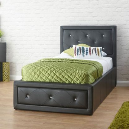 An Image of Hollywood Faux Leather Single Bed In Black
