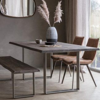 An Image of Huntington Wooden Dining Bench In Grey With Metal Stand