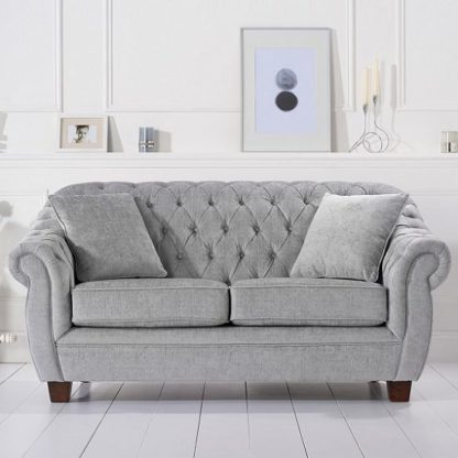 An Image of Sylvan Chesterfield Style Fabric 2 Seater Sofa In Grey Plush