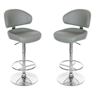 An Image of Casino Grey Leather Bar Stool In Pair