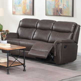 An Image of Proxima Fabric 3 Seater Sofa In Rustic Brown