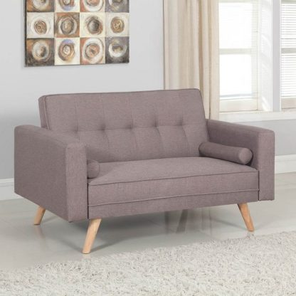 An Image of California Modern Fabric Sofa Bed In Grey And Wooden Legs
