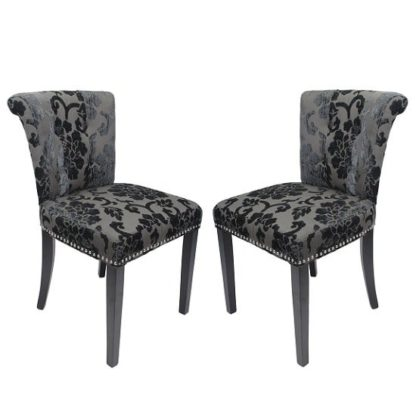An Image of Calgary Baroque Fabric Dining Chair In Charcoal In A Pair