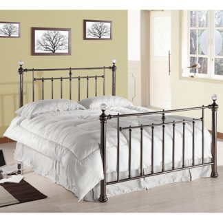 An Image of Alexander Black Metal Double Bed With Crystal Finials