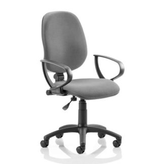 An Image of Eclipse Plus I Office Chair In Charcoal With Loop Arms