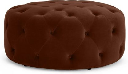 An Image of Hampton Large Round Pouffe, Warm Caramel Velvet