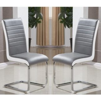An Image of Symphony Dining Chair In Grey And White PU In A Pair