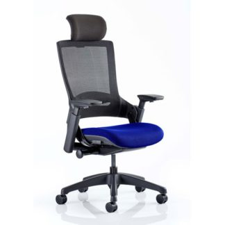 An Image of Molet Black Back Headrest Office Chair With Stevia Blue Seat