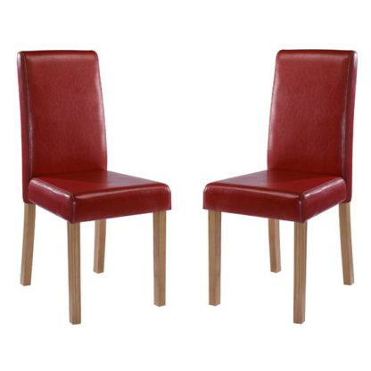 An Image of Oakridge Red Finish Dining Chairs In Pair