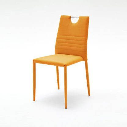 An Image of Meda Dining Chair In Orange Tubular With PU Coated