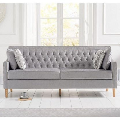 An Image of Bellard Fabric 3 Seater Sofa In Grey Plush And Natural Ash Legs