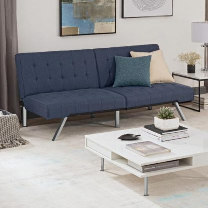 An Image of Emily Faux Leather Convertible Sofa Bed In Navy Linen Blue