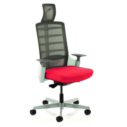 An Image of Exo Charcoal Grey Back Office Chair With Bergamot Cherry Seat