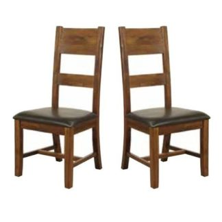 An Image of Ross Ladderback Faux Leather Dining Chair In Acacia In A Pair