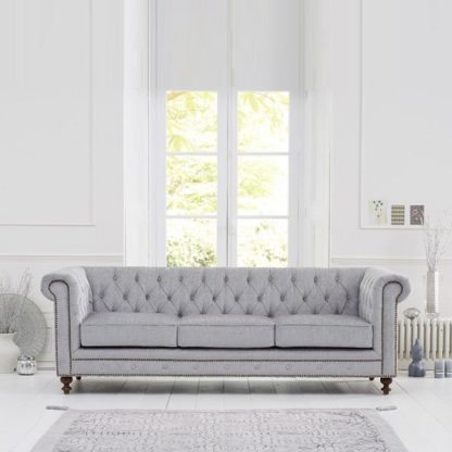 An Image of Mentor Fabric 3 Seater Sofa In Grey With Dark Ash Legs