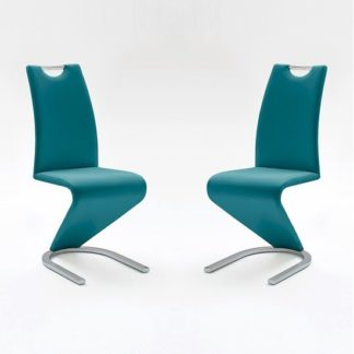 An Image of Amado Dining Chair In Petrol Faux Leather In A Pair
