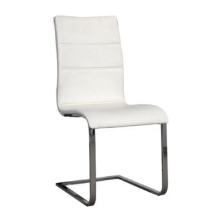 An Image of Elisa Dining Chair In White With Silver Legs