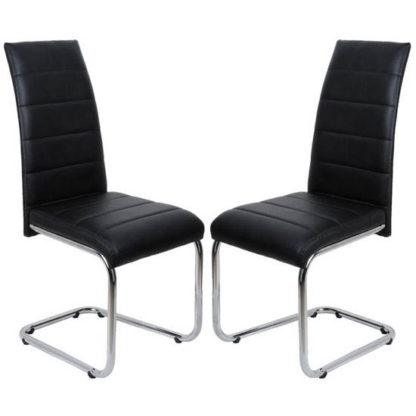 An Image of Daryl Dining Chair In Black PU Leather in A Pair