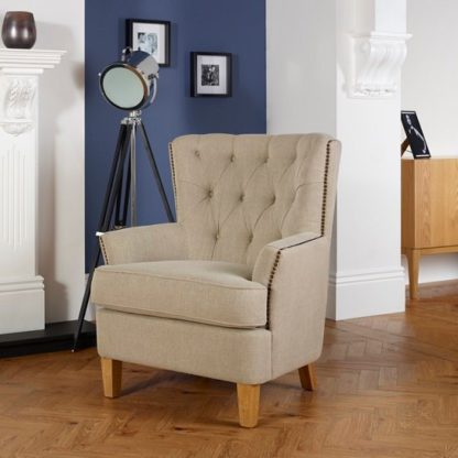An Image of Arcadia Fabric Lounge Chair In Mink With Light Wooden Legs
