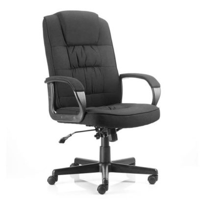 An Image of Moore Fabric Executive Office Chair In Black With Arms