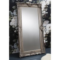 An Image of Valley Floor Mirror Rectangular Leaner In Antique Silver