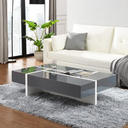 An Image of Storm Storage Coffee Table In Grey And White High Gloss