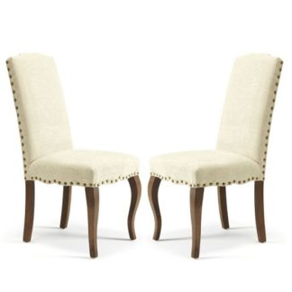 An Image of Madeline Dining Chair In Pearl Fabric And Walnut Legs in A Pair