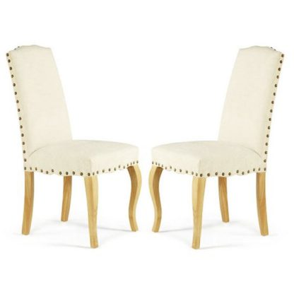 An Image of Madeline Dining Chair In Pearl Fabric And Oak Legs in A Pair