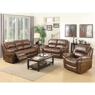 An Image of Lerna Leather 3 Seater Sofa And 2 Armchairs Suite In Tan