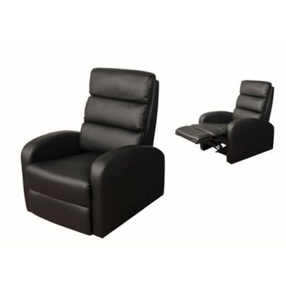 An Image of Livonia Reclining Chair in Black Faux Leather