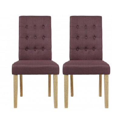 An Image of Heskin Dining Chair In Plum Linen Style Fabric in A Pair