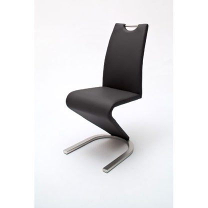 An Image of Amado Z Black Faux Leather Metal Swinging Dining Chair