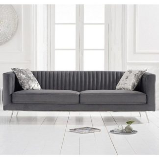 An Image of Achird Velvet 3 Seater Sofa In Grey