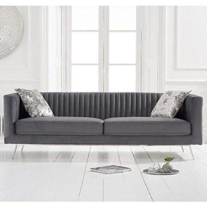 An Image of Achird Velvet 3 Seater Sofa In Grey