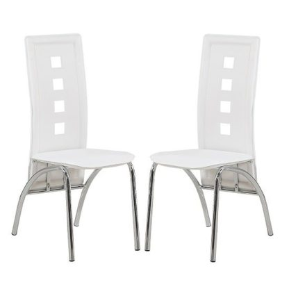 An Image of Bellini Dining Chairs In White Faux Leather In A Pair
