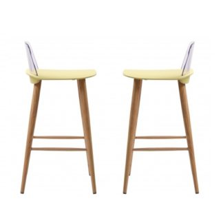 An Image of Madisson Lime Bar Stool With Oak Look Metal Legs In A Pair