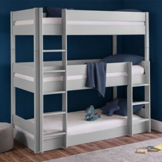 An Image of Trio Wooden Bunk Bed In Dove Grey