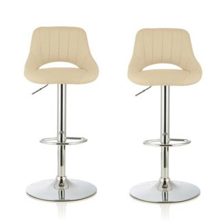 An Image of Shello Bar Stool In Cream Faux Leather And Chrome Base In A Pair