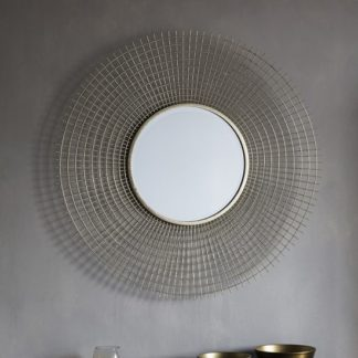 An Image of Antila Modern Wall Mirror Round In Gold