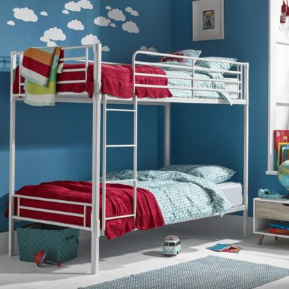 An Image of Apollo Metal Bunk Bed In White