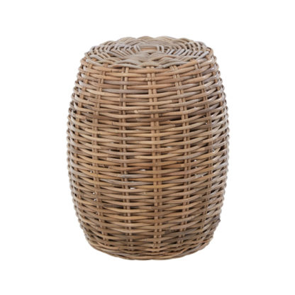 An Image of Helvetios Wooden Rattan Stool In Natural